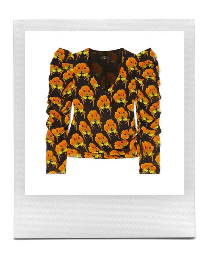 Gin wrap-effect ruched printed crepe top, De La Vali, sold by Net-a-Porter, 320 €