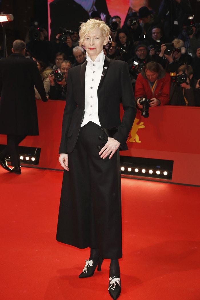 Tilda Swinton na premiéře filmu Psí ostrov v Berlíně, únor 2018    Autor: Franziska Krug/Getty Images