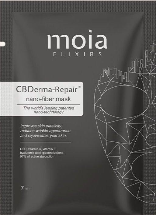 Suchá pleťová maska z nanovláken s CBD, vitaminy C a E a kyselinou hyaluronovou, MOIA ELIXIRS, prodává Moiaelixirs.cz, 295 Kč