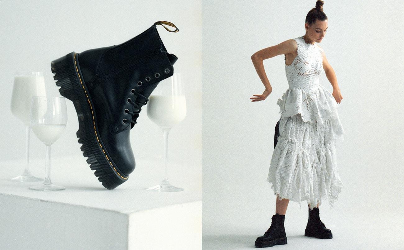 Vlevo: boty Jadon Platform, Dr. Martens, prodává Vemzu.  Vpravo: šaty, Martin Kohout; boty Jadon Platform, Dr. Martens, prodává Vemzu.