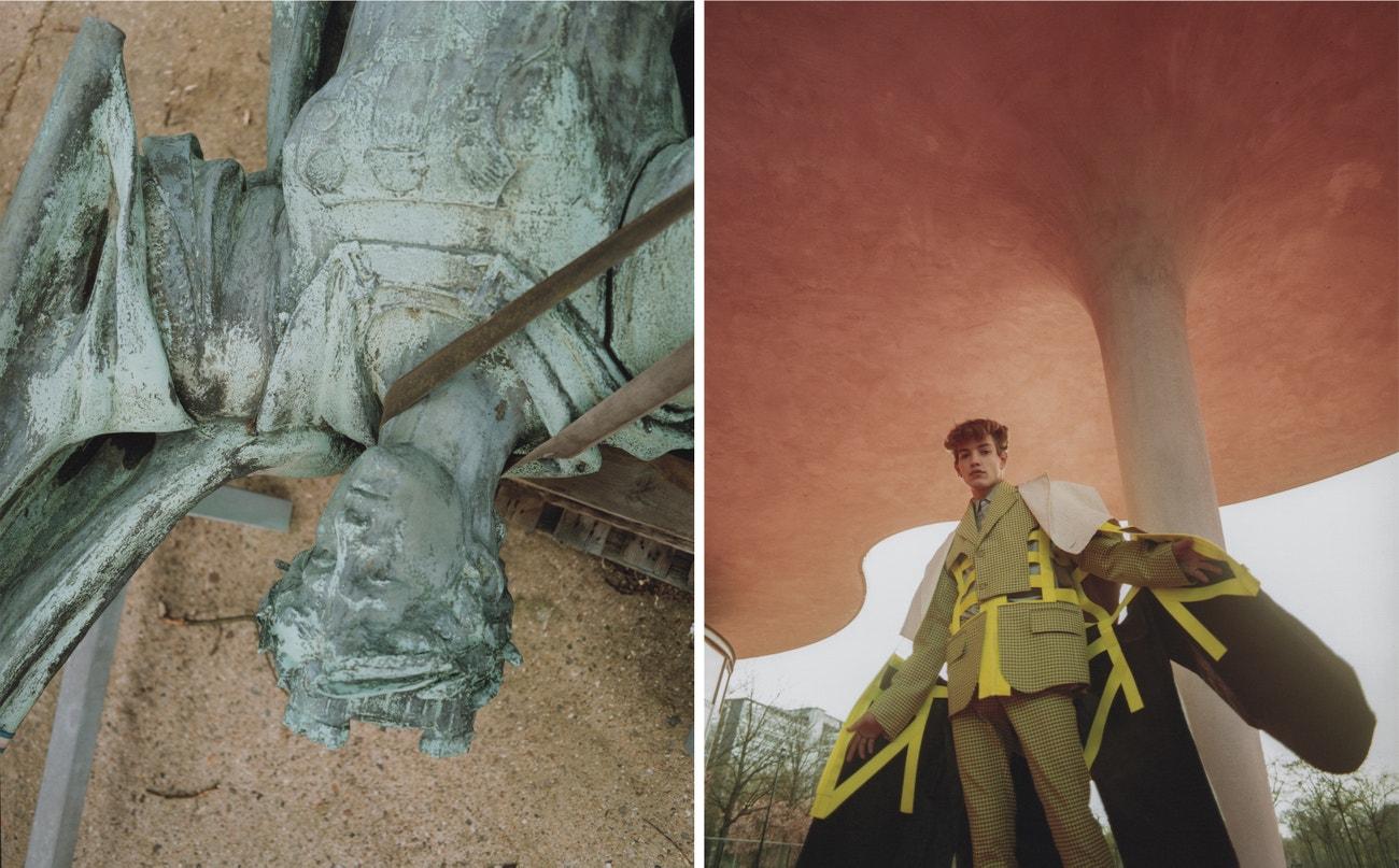 Kabát, sako, kalhoty, vše Walter Van Beirendonck; košile, náušnice, obojí Dior.