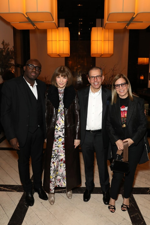 Edward Enninful, Anna Wintour, Jonathan Newhouse a Ronnie Cooke Newhouse na Vogue Vanity Fair Party