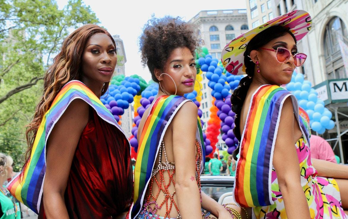 Dominique Jackson, Indya Moore a Mj Rodriguez na Pride Parade v New Yorku