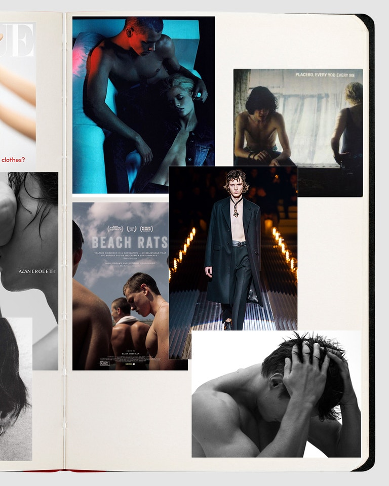 "Via @tomfordforgucci; poster ""Beach Rats"", www.imdb.com; Prada Menswear FW2019, Alessandro Lucioni; Hedi Slimane pro DIOR HOMME, www.hedislimane.com; Placebo."