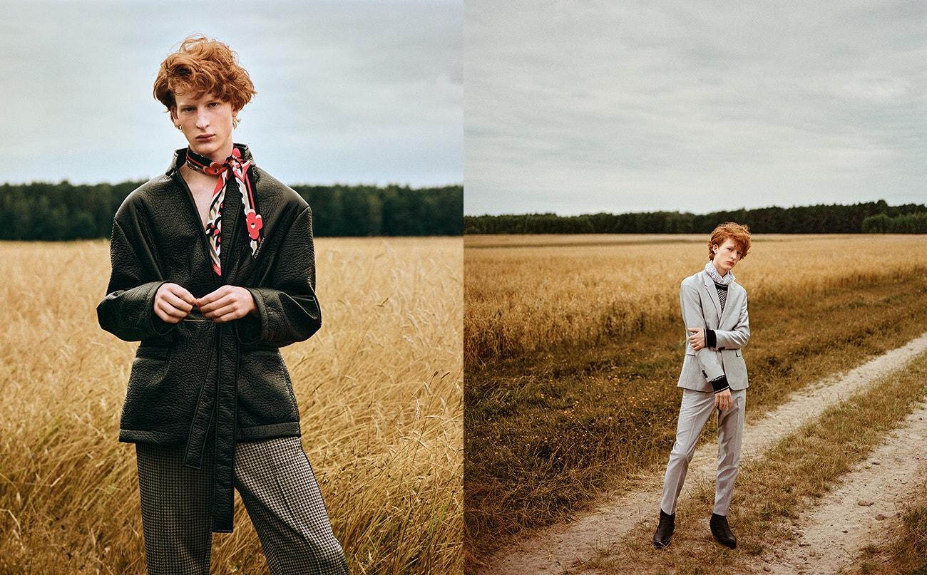 Vlevo: kožené sako, MMC Studio; šála, Louis Vuitton; kalhoty, Weekday.  Vpravo: sako, kalhoty, obojí Boss; svetr, Tommy Hilfiger; šála, MMC Studio; boty, Sendra.