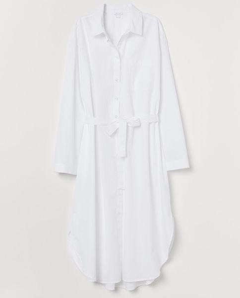 Bílá bavlněná noční košile, H&M Home, prodává hm.com, 899 Kč