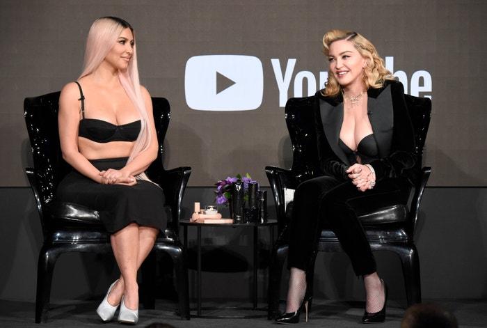 Kim Kardashian a Madonna na tiskové konferenci MDNA Skin x KKW Beauty, březen 2018