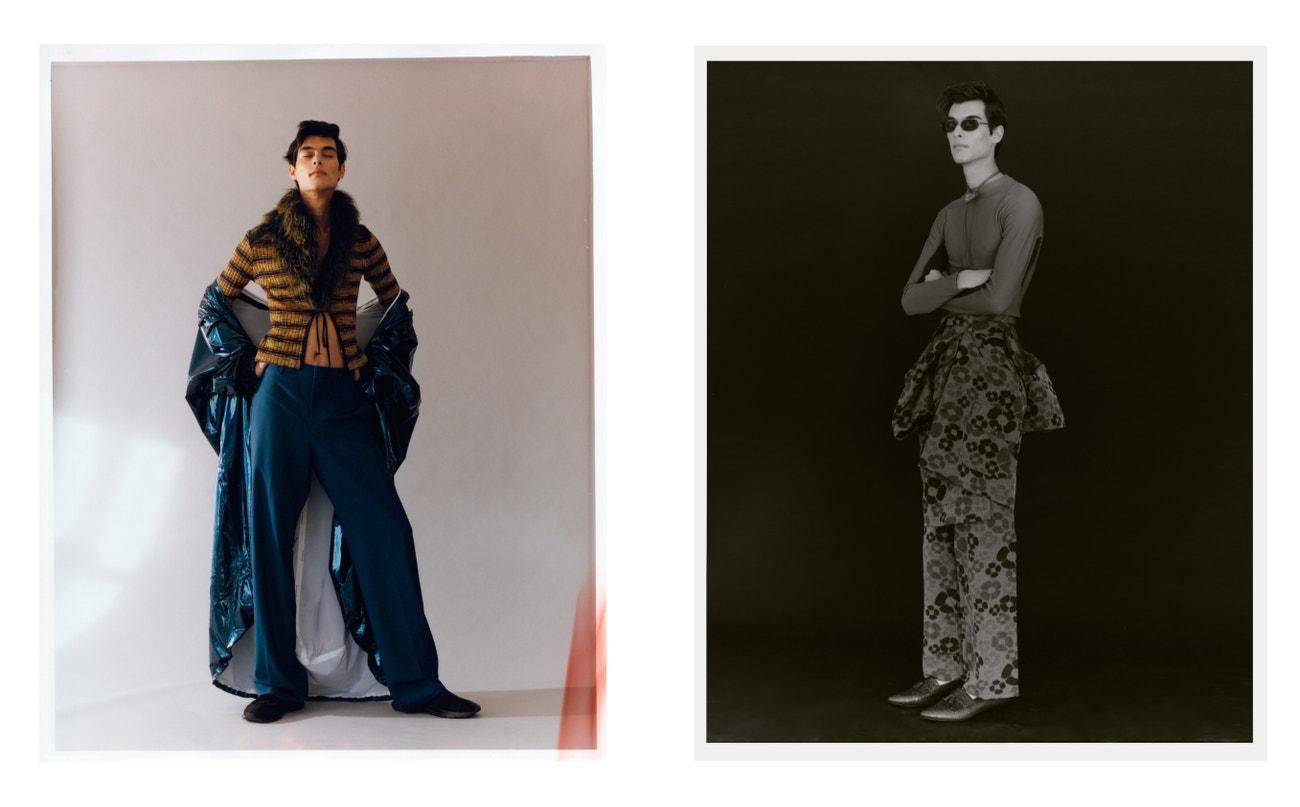 Vlevo: kabát, kalhoty, boty, vše Givenchy; svetr, Plein Sud.  Vpravo: top, Givenchy; oblek, Marni; boty, Celine; náhrdelník, Prada; sluneční brýle, Chanel.