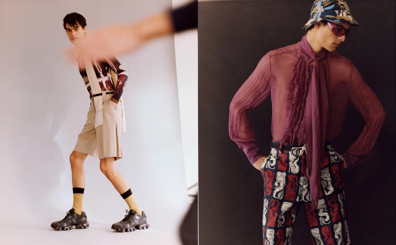 Vlevo: triko s dlouhým rukávem, Jean Paul Gaultier, šortky, boty, ponožky, vše Prada; pásek, šátek, obojí Celine.  Vpravo: košile, Palomo Spain; kalhoty, Kenzo; boty, Celine; čepice, Dolce & Gabbana; sluneční brýle, Dior.