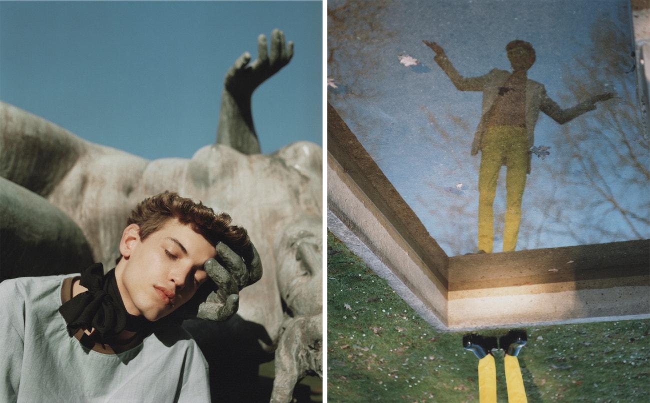 Vlevo: triko, DGRD Clothing; šátek, stylisty vlastní.  Vpravo: sako, Dior; triko, DGRD Clothing; kalhoty, sluneční brýle, boty, vše Walter Van Beirendonck.