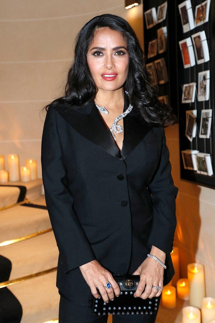 Salma Hayek, Boucheron Cocktail Party, Place Vendome, Paříž, leden 2019