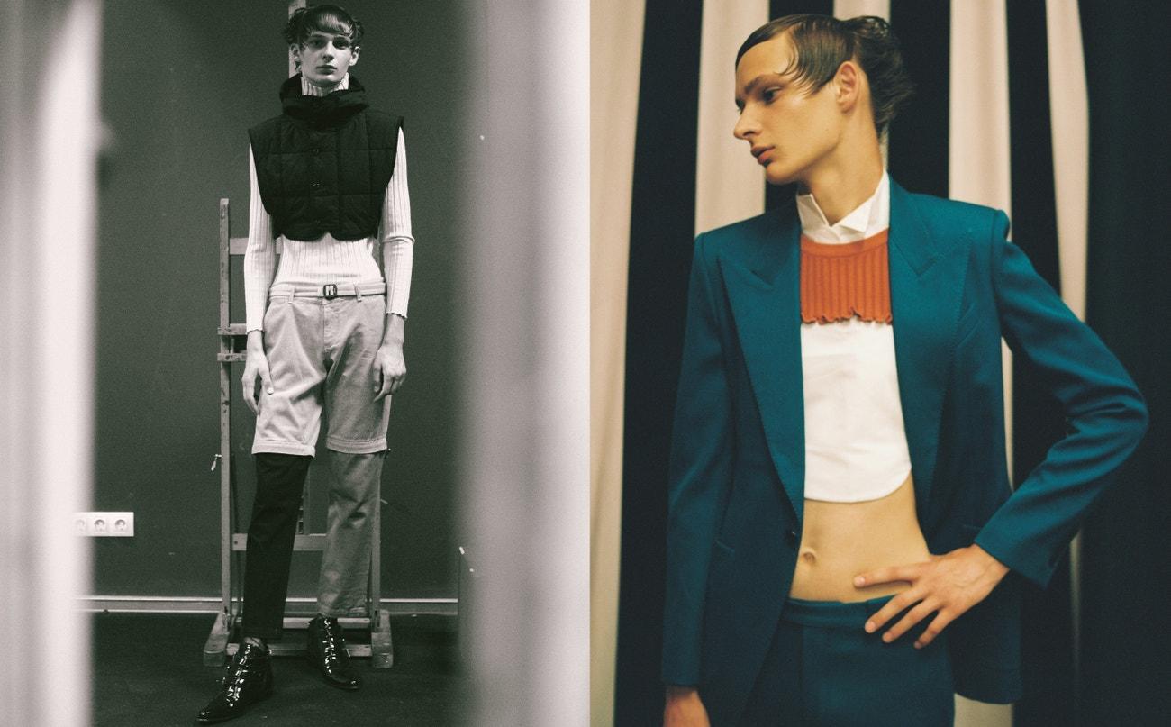 Vlevo: svetr, vesta, obojí Dries Van Noten; kraťasy, Kenzo.  Vpravo: sako, kalhoty, obojí Givenchy; košile, Carlota Barrera; svetr, Peet Dullaert; boty, Givenchy.