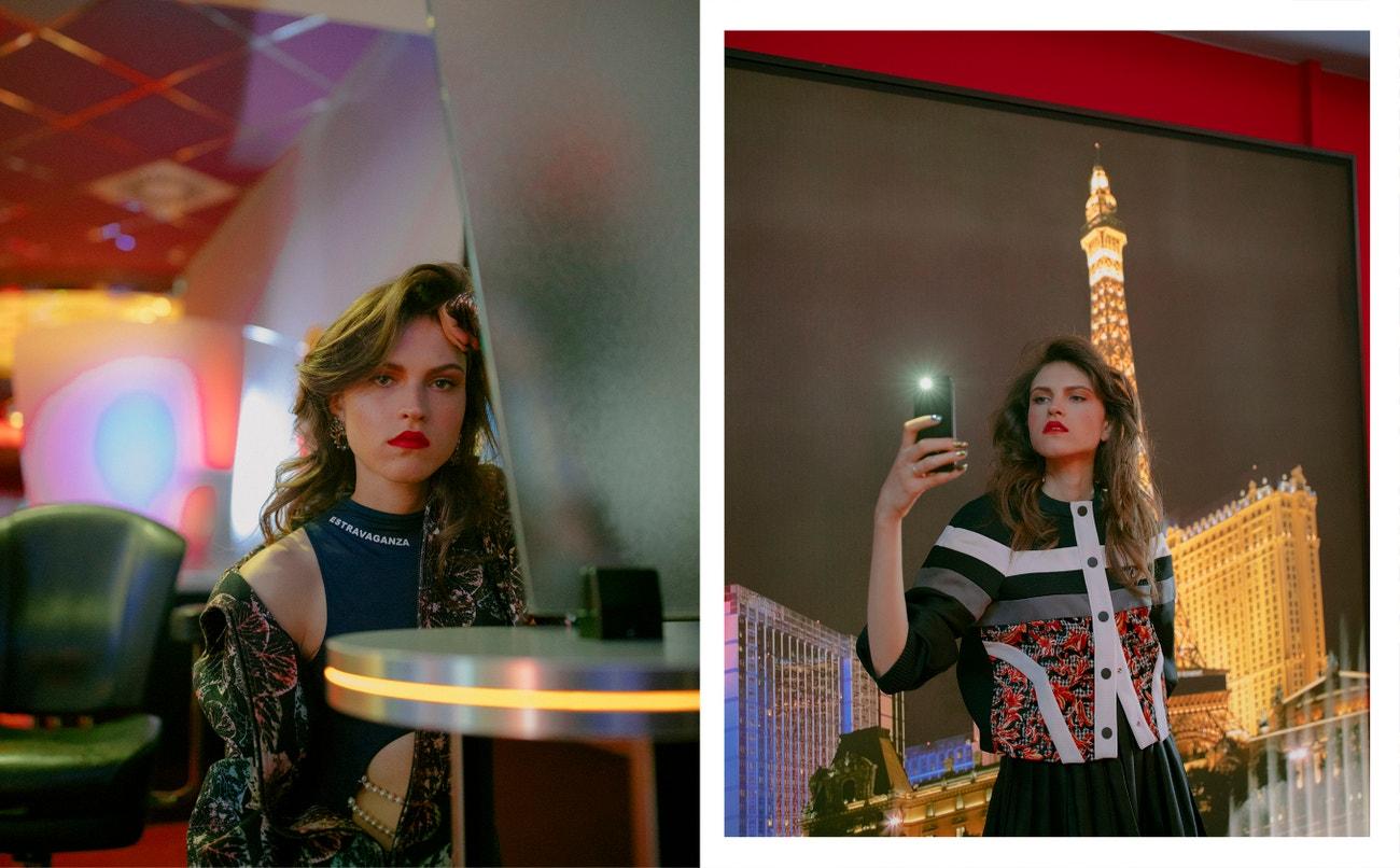 Vlevo: body, Fantabody; bunda, náramky, náušnice, Chanel.  Vpravo: top, sukně, obojí Louis Vuitton.