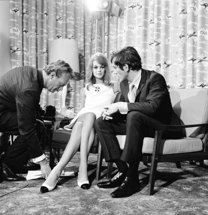 Jean Shrimpton and her companion, British actor Terence Stamp, attend a press conference in Melbourne, Australia in 1965.