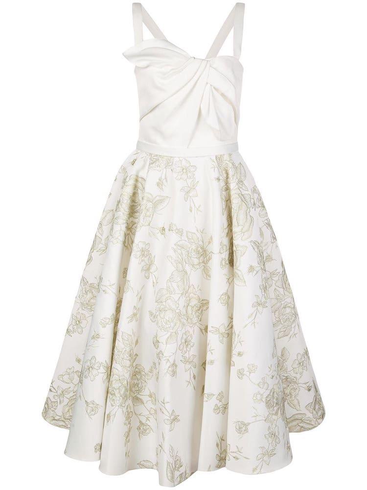 Bílé midi šaty se širokou sukní a tenkými ramínky, MARCHESA NOTTE