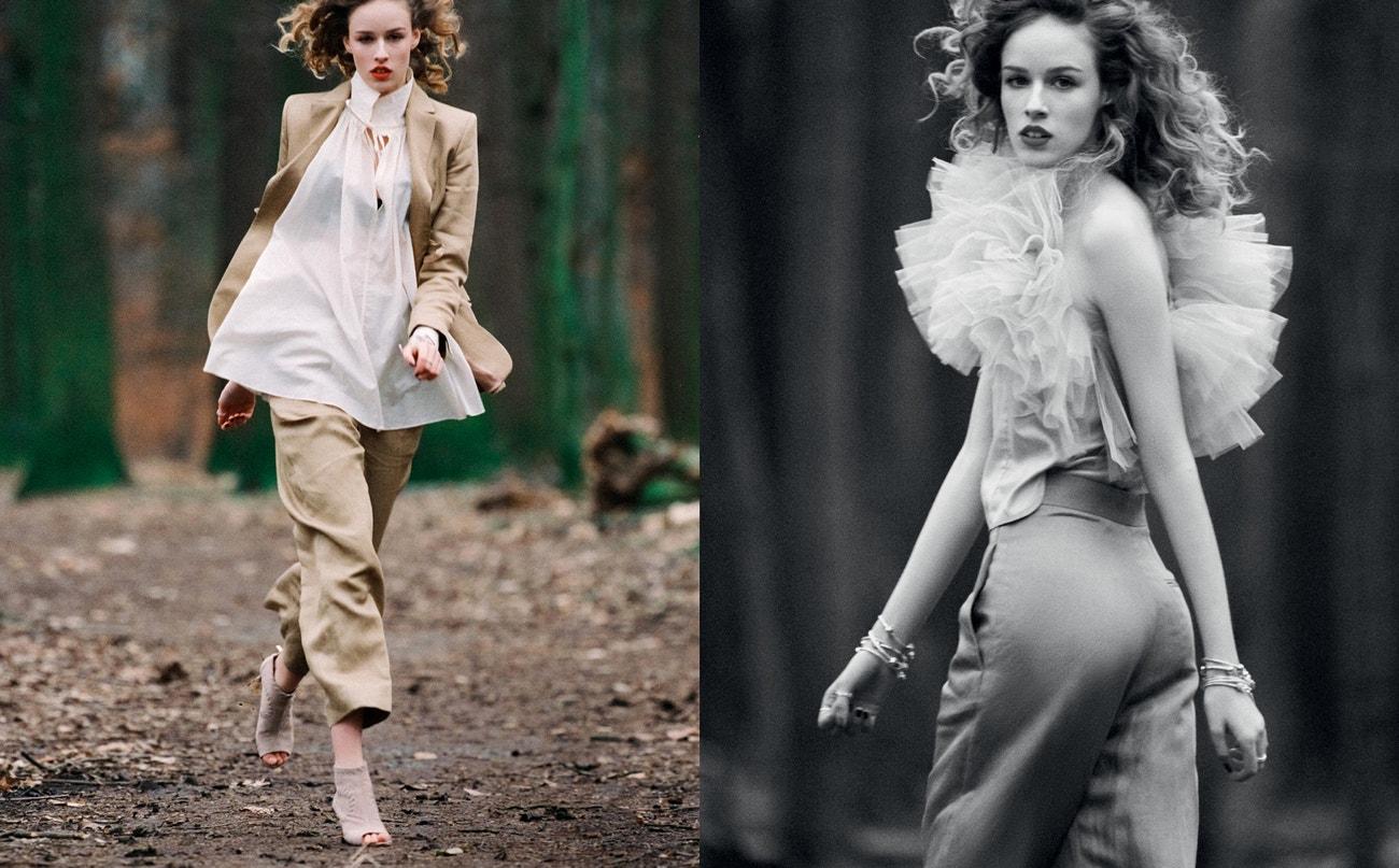 Vlevo: sako z lněné směsi, široké kalhoty z lněné směsi, halenka z bavlněného voálu, vše H&M Conscious Exclusive, sako prodává H&M, 3 999 Kč, kalhoty prodává H&M, 2 499 Kč, halenku prodává H&M, 1 299 Kč; šperky, PANDORA, prodává PANDORA, 3 999 Kč; boty, GINO ROSSI, prodává CCC, 2499 Kč.  Vpravo: top, kalhoty, obojí H&M Conscious Exclusive, top prodává H&M, 2 499 Kč; šperky, PANDORA, prodává PANDORA, 1 929 Kč.