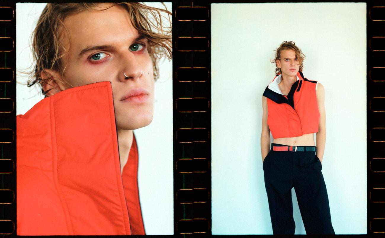 Adam: vesta, SPORTMAX; kalhoty, pásek, obojí DIOR HOMME (prodává The Brands).