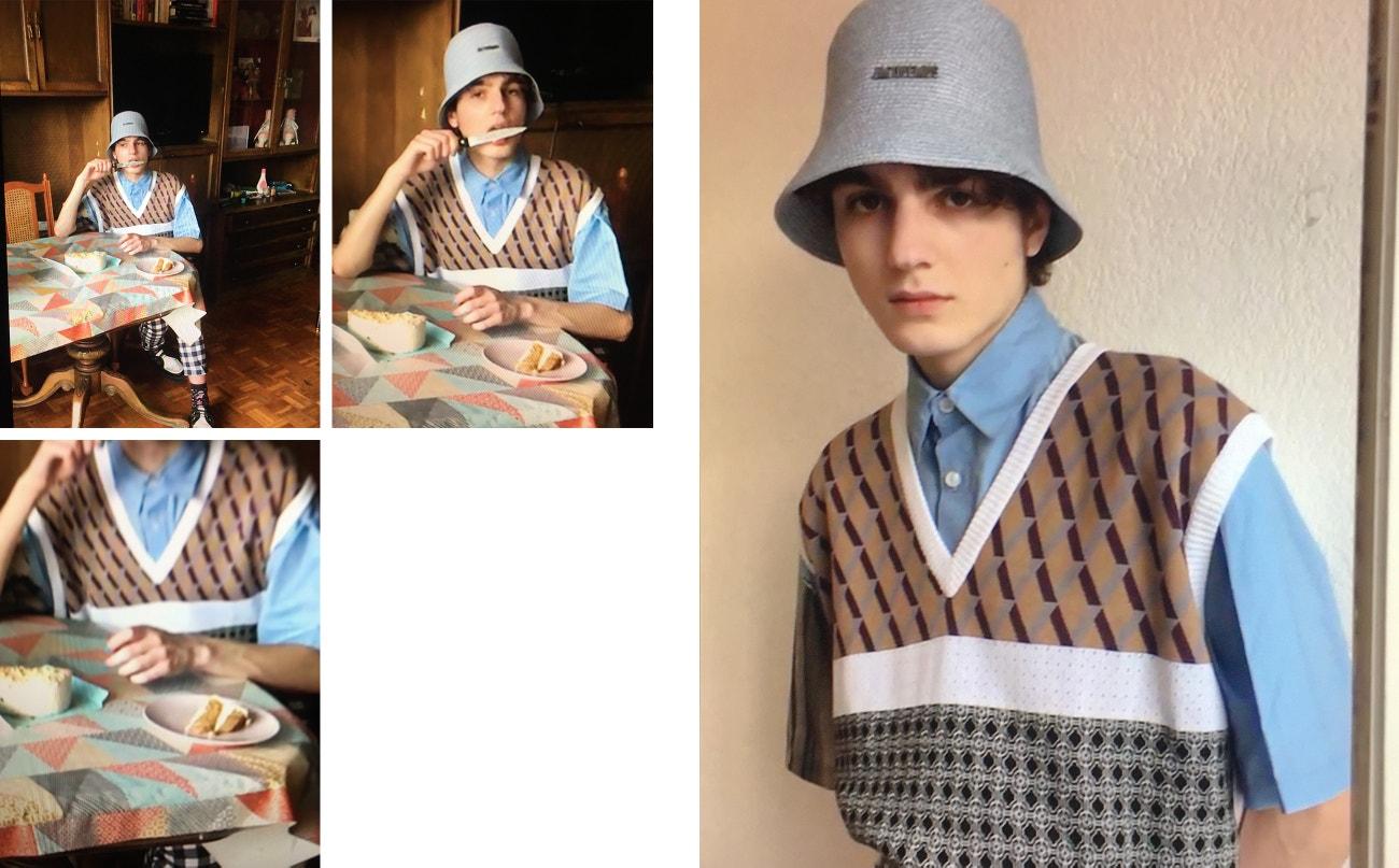 Vesta, košile, obojí Louis Gabriel Nouchi; kalhoty, Carlota Barrera; čepice, Jacquemus; boty, T.U.K. Footwear.