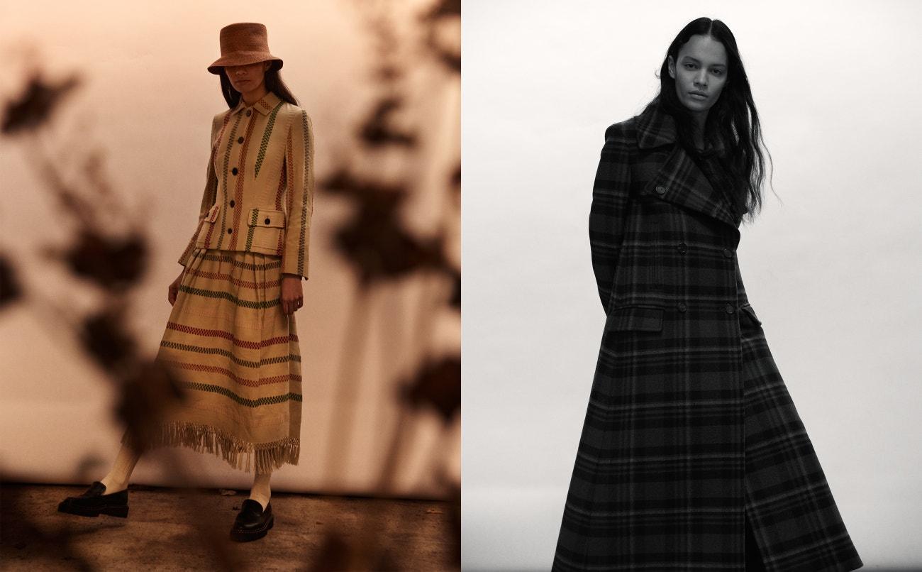 Vlevo: sako, sukně, klobouk, vše Christian Dior; ponožky, Falke; boty, ATP Atelier.  Vpravo: Kabát, Mulberry.