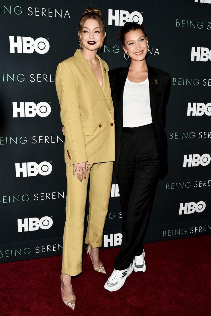 Gigi Hadid a Bella Hadid na premiéře filmu Being Serena, New York (2018)