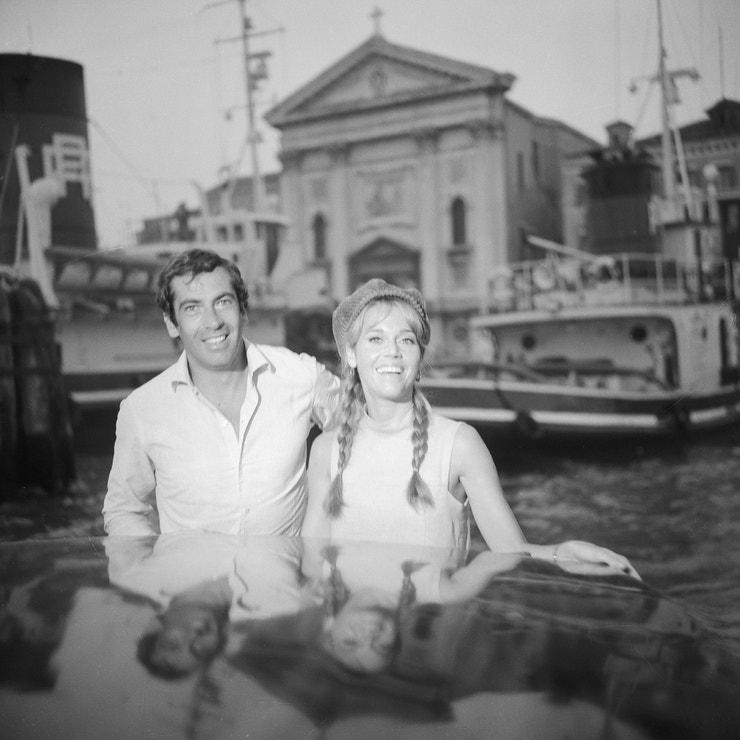 Jana Fonda a Roger Vadim na filmovém festivalu v Benátkách v roce 1966
