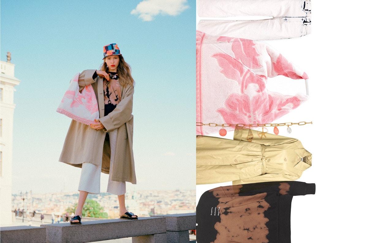 Mikina, PROENZA SCHOULER, prodává Zalando, 4 210 Kč; kalhoty, PROENZA SCHOULER, prodává Zalando, 5 200 Kč; kabát, MM6, prodává Zalando, 14 460 Kč; kabelka, MM6, prodává Zalando, 5 530 Kč; sandále, TOPSHOP, prodává Zalando, 700 Kč; šperk, TOPSHOP, prodává Zalando, 370 Kč; klobouk, PAUL SMITH, prodává Zalando, 1 730 Kč.