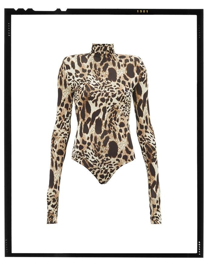 Lynx-print stretch-jersey bodysuit, ALEXANDRE VAUTHIER, sold by MatchesFashion, 783 EUR