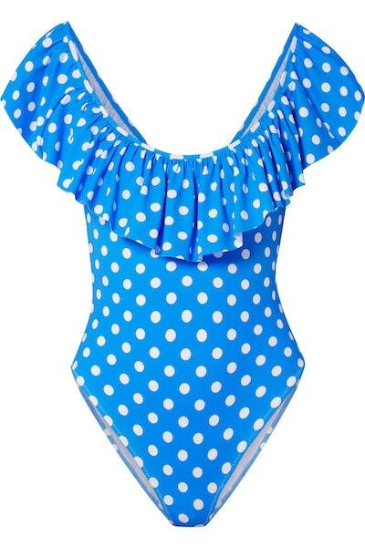 Modré puntíkované plavky s volánem, Caroline Constas, prodává Net-a-porter.com, 338 €