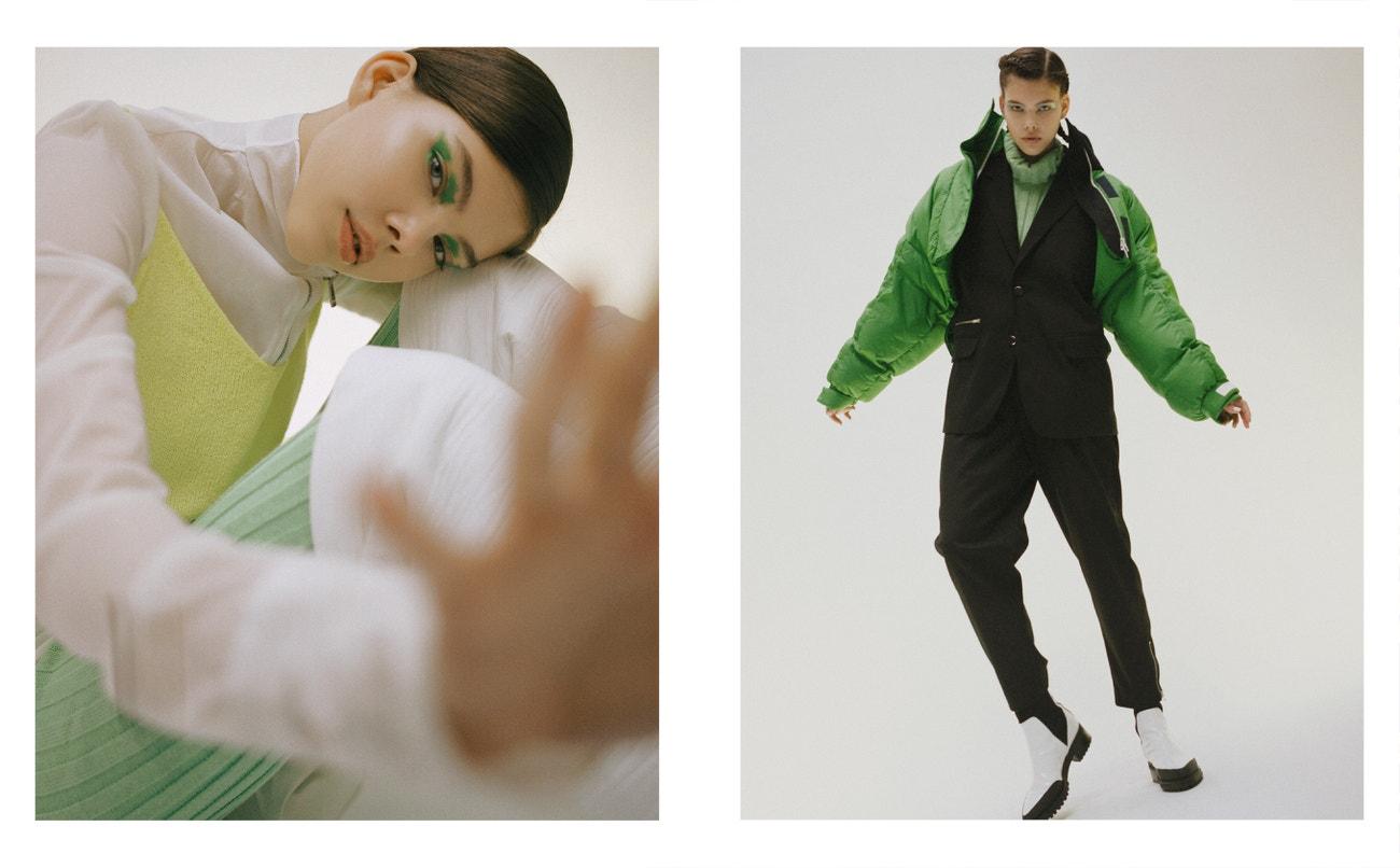 Vlevo: šaty, boty, obojí Jil Sander; top, kalhoty, obojí Federico Cina.  Vpravo: svetr, Federico Cina; sako, kalhoty, obojí Sayoung; bunda, Sportmax.