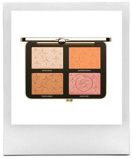 Paletka rozjasňovačů Sugar Peach wet & dry face & eye palette, Too Faced, prodává Sephora, 1220 Kč