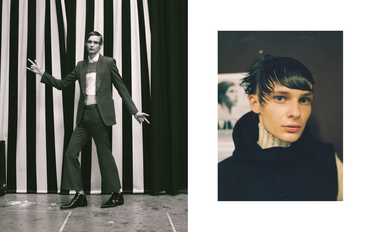 Vlevo: sako, kalhoty, obojí Givenchy; košile, Carlota Barrera; svetr, Peet Dullaert; boty, Givenchy.  Vpravo: svetr, vesta, obojí Dries Van Noten.