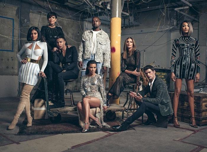 Balmain Army: Kylie Jenner, Olivier Rousteing, Kris Jenner, Kanye West, Kim Kardashian, Cindy Crawford, Sean O'Pry, Jourdan Dunn