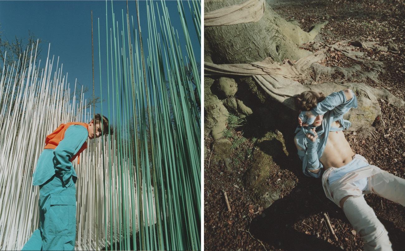 Vlevo: kalhoty, košile, vesta, vše Louis Vuitton.  Vpravo: spodní prádlo, Calvin Klein.