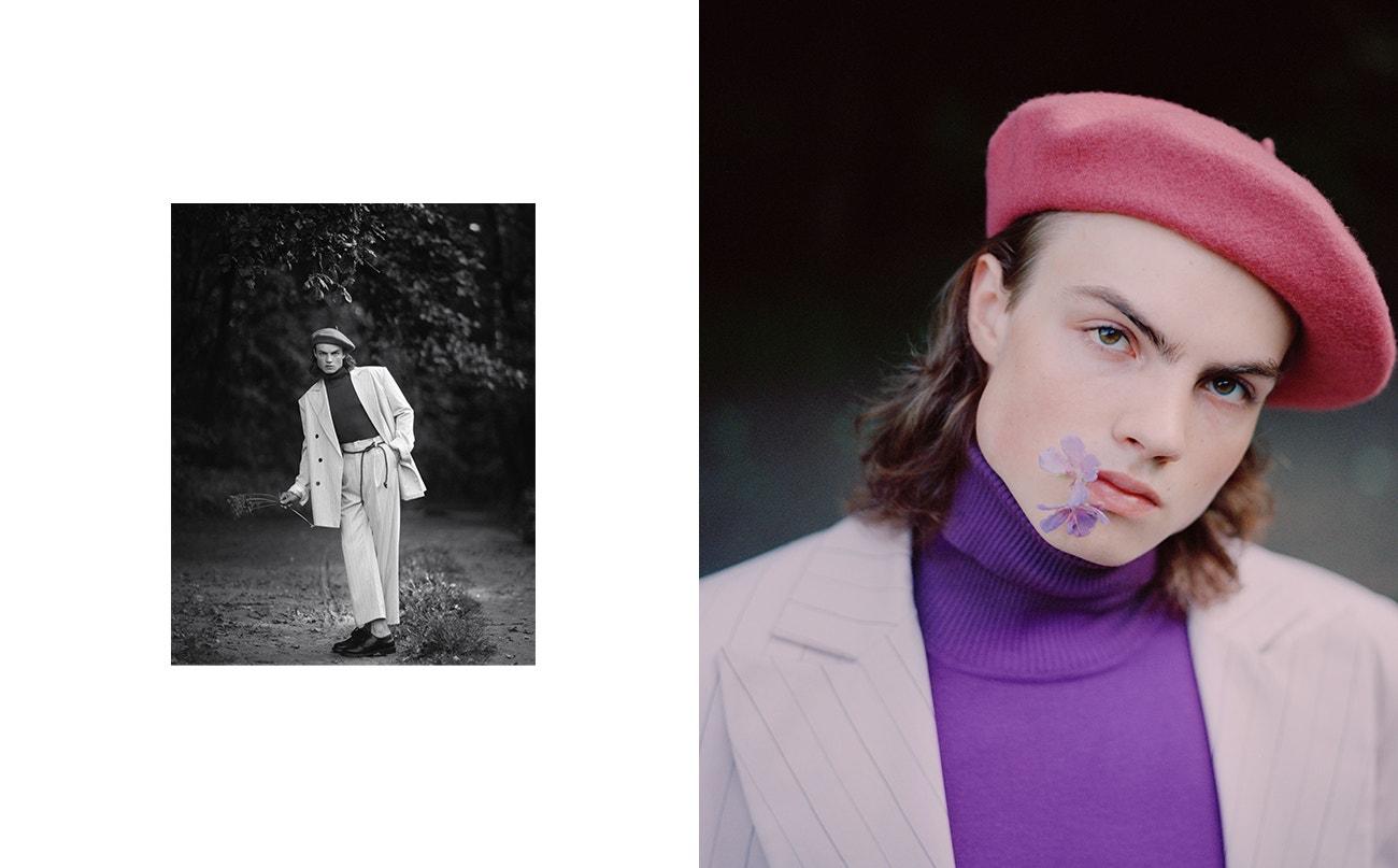 Baret Laulhere  Violet; rolák, Marni; sako, kalhoty, obojí Andrew Ponomarev.