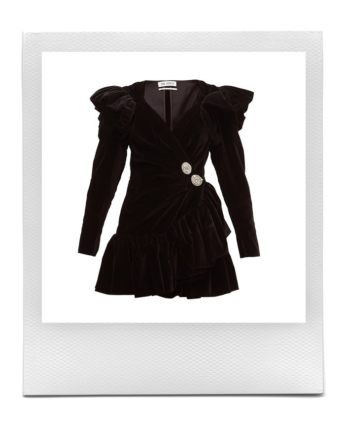 Crystal-button ruffled velvet wrap dress, The Attico, sold by MatchesFashion, € 1,340