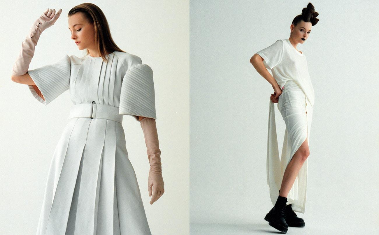 Vlevo: šaty a rukavice, obojí Fendi.  Vpravo: sukně a top, Zoltán Tóth x Levi's; boty Jadon Platform, Dr. Martens, prodává Vemzu.