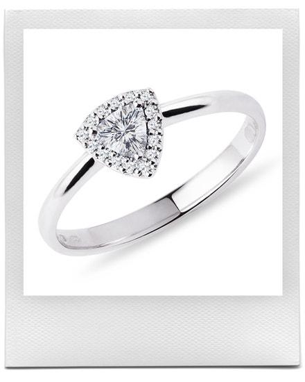 Prsten s diamantem v brusu trilion v bílém zlatě, KLENOTA, prodává KLENOTA, 39 900 Kč