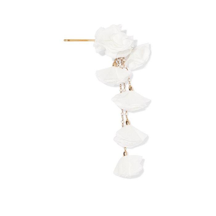 Zlatá sponka do vlasů s perličkami a saténovými květinami, Rosantica, prodává Net-A-Porter, 198 €