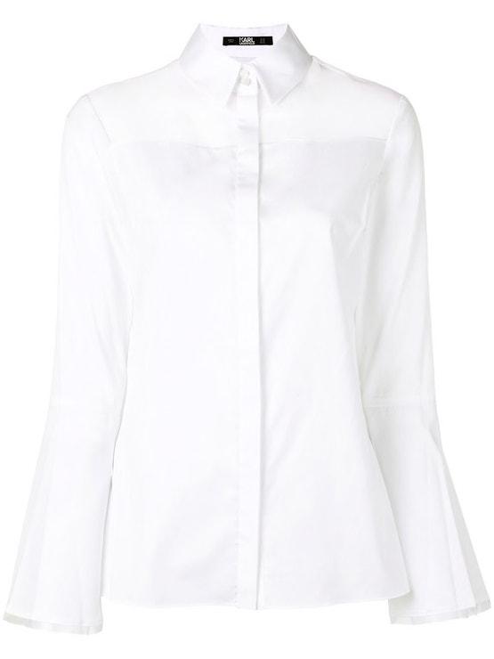 Bílá košile s průhlednou vsadkou, Karl Lagerfeld, prodává Karl.com, 225 €