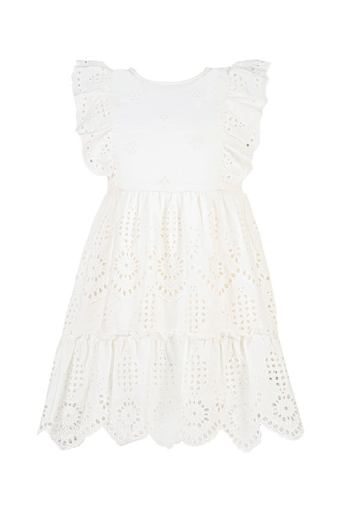Dívčí bílé krajkové šaty, F&F, k dostání v kamenných prodejnách, 399 Kč