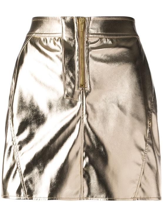 Zlatá minisukně se zapínáním na zip, Fiorucci, prodává Zalando, 4 080 Kč