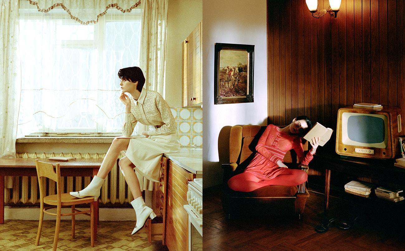 Vlevo: sako, sukně, obojí Boss; pásek, boty, obojí Roberto Cavalli.  Vpravo: šaty, Molly Goddard; náušnice, Maria Black; prsten Schiaparelli.