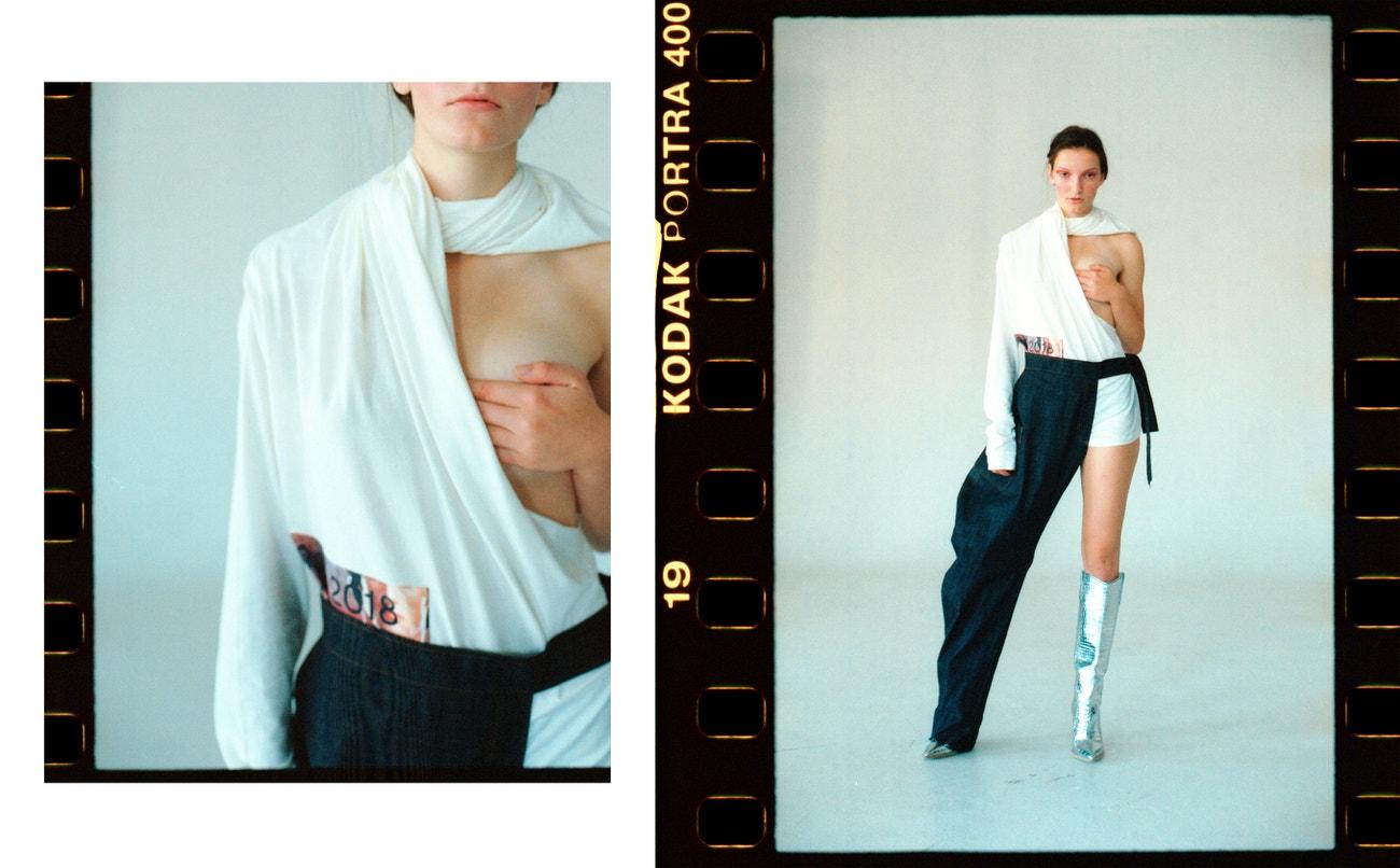 Nikol: kalhoty, top, obojí FREIER (prodává Drobne store & atelier); boty, FENDI.